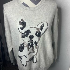 Forever 21 Grey Sequence Puppy Sweat Shirt